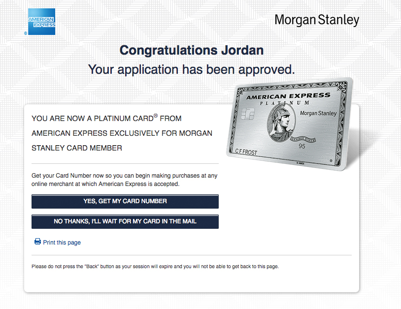 It Worked For Now I Have A Morgan Stanley Amex