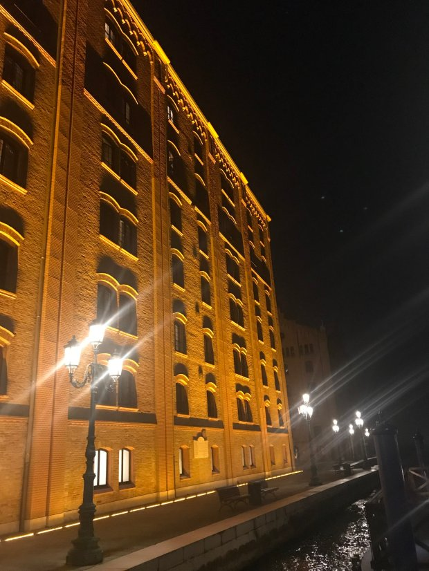 The hotel certainly cuts an imposing figure at night…